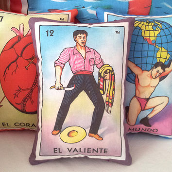 El Valiente Brave Fighter Mexican Loteria Mini Pillow, Tuck Pillow or Bowl Filler - Christmas / Dia De Los Muertos / Day of the Dead