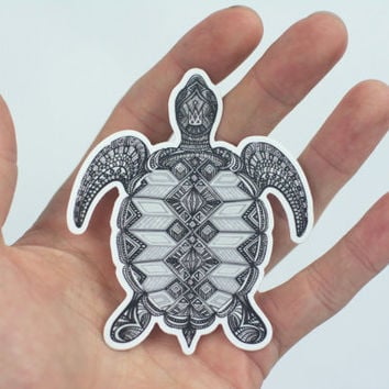 Sea Turtle Sticker, Hand Drawn Turtle Laptop Sticker, Trippy Sticker, Sea Turtle Art, Art Sticker, Bumper Sticker, Laptop Sticker, B&W