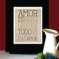 1 Corintios 13: LOVE AMOR, Inspirational Quote Spanish, Art for Print, Subway Art.