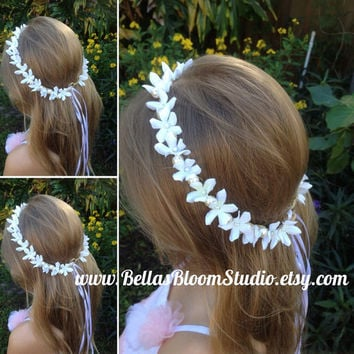 White flower crown, Communion Headpiece Pearl Headpiece,Flower girl crown, White Flower crown,Bridal Hair vine,Pearl crown headpiece etsy