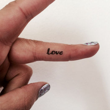 10 Love Temporary Tattoo Tiny Love Word / Finger Face Tattoo / Fake Tattoos / Set of 10