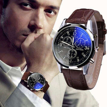 Luxury Fashion Faux Leather Watch Quartz Analog