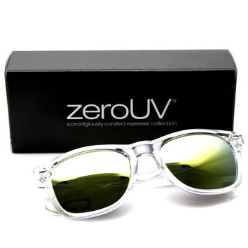 "Zerouv + Plus ""Mormont"" Transparent Horned Rim Mirror Lens Sunglasses"