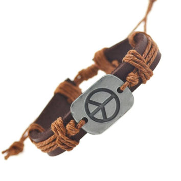 Peace Leather Bracelets For Women Men Bracelets & Bangles