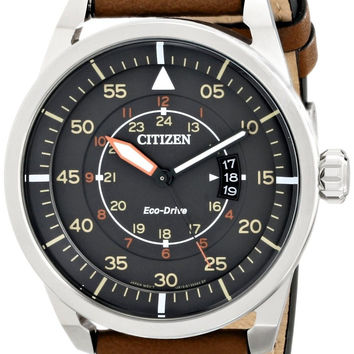 Citizen Eco-Drive Men's AW1361-10H Sport Stainless Steel Watch with Brown Lea...
