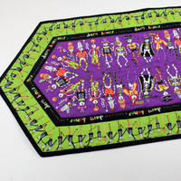 Halloween Table Runner Quilt - Dem Bones, Purple, Green and Black Skeletons. Quilted Halloween Party Table Decor