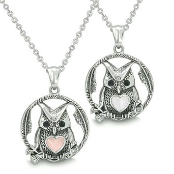 Owl and Cute Heart Love Couple Yin Yang Energy White Light Pink Cats Eye Pendant Necklaces
