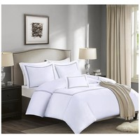 Gray Border White Cotton Comforter Set