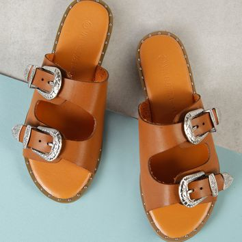 Double Buckle Band Metallic Bead Trim Slide Sandal