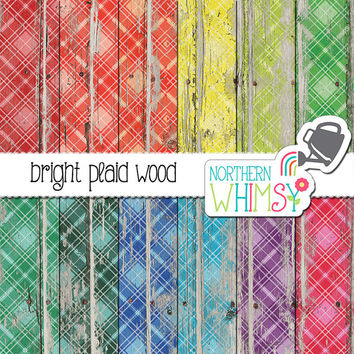 Plaid Wood Digital Paper - bright plaid on peeling paint - distressed tartan wood scrapbook paper - printable paper - commercial use OK