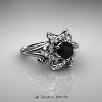 Split Shoulder 14K White Gold 1.0 Carat Black and White Diamond Knot Engagement Ring R385-14KWGDBD