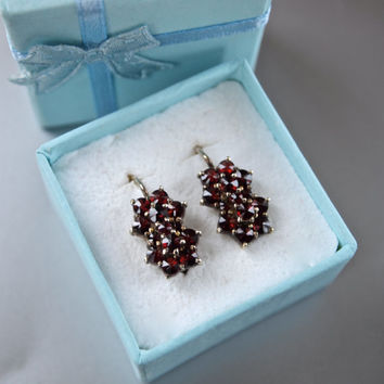 Bohemian Czech Genuine Antique Sterling Silver and Double Flower Garnet Earrings