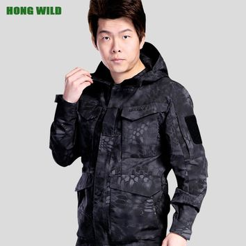 HONG WILD Winter Flight Pilot Coat  M65 UK US Men Autumn  Army Clothes Casual Tactical Hooded Military Field Jacket Windbreaker