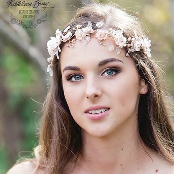 R1900 Rose gold cherry blossom wedding bridal hair accessory accessories - wedding headband - hair wreath - bride rose gold flower crown