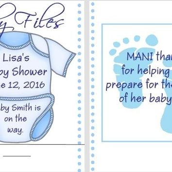 8 Blue Baby Shower Nail File Favors
