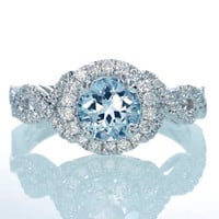 18 Karat White Gold Twist Shank Vine Design Ring Set with Aquamarine Center Stone with Diamond Halo Accent Ring