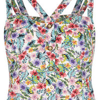Multi Floral Print Suntop - Tops  - Clothing