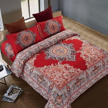CUPUP9G Bohemian Duvet Cover Sets Bohemian Bedding Microfiber Red Bedding Sets One Duvet Cover One Bed Sheet Two Piollowcases 4PCS