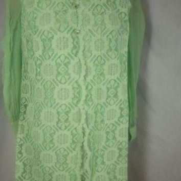 MDIG91W 1960's Vintage Lace Dress Lee Jordan Mint Green Mod Dress