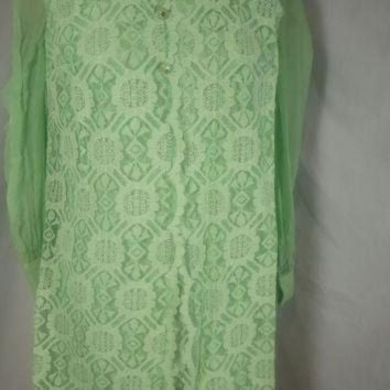 CREYUG7 1960's Vintage Lace Dress Lee Jordan Mint Green Mod Dress