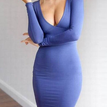 Blue Plunging Neckline Long Sleeve Bodycon Dress