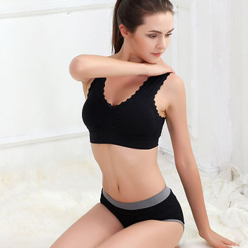 Active Solid Color Sport Bra Gym Athletic Padded Soft Bras Lace Edge Crop Top Stretch Vest