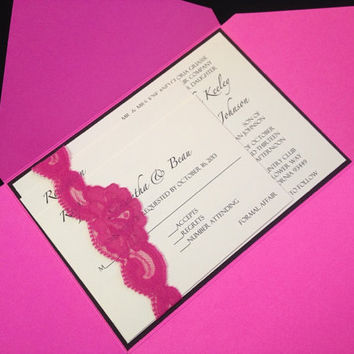 50 Wedding Hot Pink with Lace Envelope by PaperDivaInvitations