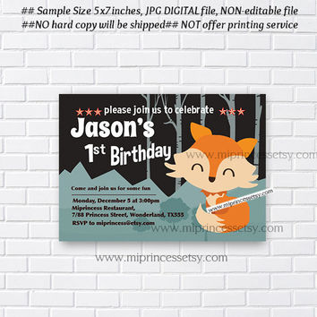 Fox Birthday Invitation, cute fox woodland any age for kids birthday 1st 2nd 3rd 4th 5th 6th 7th Forest Animals - card 917