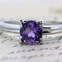 Platinum Engagement Ring | Amethyst Engagement Ring | Alternative Ring | Solitaire Ring | 1940s Mid Century Ring | Gemstone Ring | Size 6.25