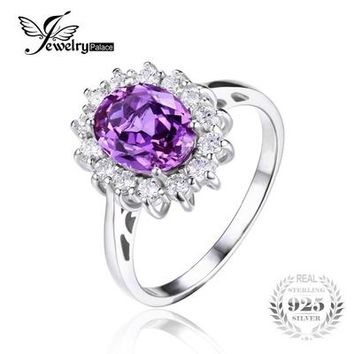 Princess Diana William Kate Middleton's 3.2ct Created Alexandrite Sapphire Ring 925 Sterling Silver Brand Jewelry