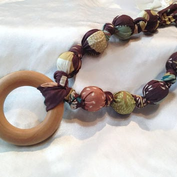 Organic Earthtone Woodland Creatures, With or Without Wooden Ring, Baby Wearing, Nursing Necklace