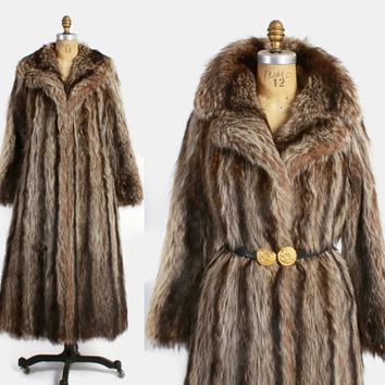 Vintage 70s FUR Coat / Vintage 1970s Diane Von Furstenberg Raccoon Fur Princess Full Length Coat
