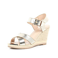 River Island Womens Gold metallic cross strap wedges