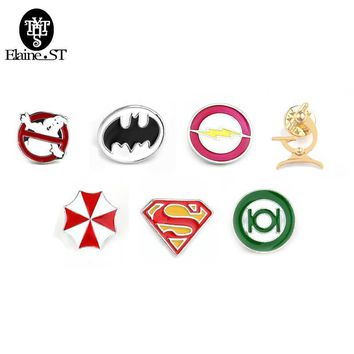 Deadpool Dead pool Taco 20pcs/lot  Ghostbusters Batman Brooches Pins Flash Captain America Superman brooches for men badge Hat Tie Tack Brooch AT_70_6