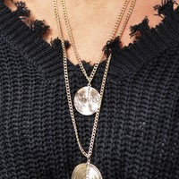 Layered Chunky Large Coin Necklace