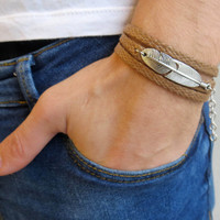 Men's Bracelet - Men's Feather Bracelet - Men's Brown Bracelet - Men's Jewelry - Bracelets For Men - Jewelry For Men - Gift for Him
