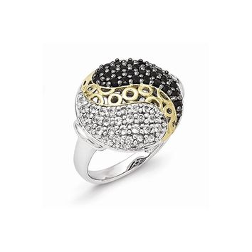 Sterling Silver Gold-Plated Black Rhodium White Topaz and Onyx Ring