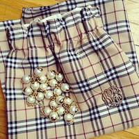 Tan Black Red White Print Wool Plaid Skirt