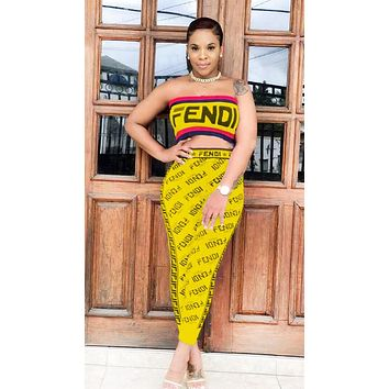 Fendi Summer Fashion New More Letter Print Leisure Two Piece Suit Strapless Top And Pants Yellow