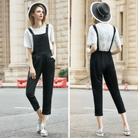 2 Pieces Women's Sets White Tops + Black Rompers Back Diamond Butterfly Jumpsuit Elastic Waist Overalls Plus Size XL-5XL S6707
