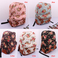 Girl Lady Vintage Cute Flower School Book Campus Bag Traveling Backpack