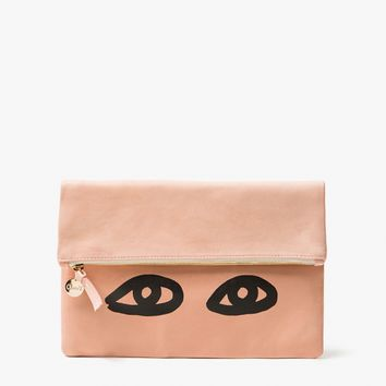 Clare V. / Foldover Clutch in Blush/Black