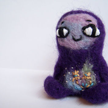 Needle Felted Monster Cute Amigurumi Felt Monster by Knittynudo