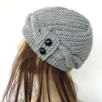 Hand Knit  Hat- Womens Hat-  Cloche Hat  in Silver Gray  Womens cable knit   Hat  Spring  Autumn  Winter Accessories Fashion Gift
