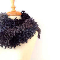 Shadows of Grays Long, Chunky, Fringed Women Scarf