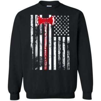 Viking Axe Weapon American Flag Patriotic 4th July T-Shirt Crewneck Pullover Sweatshirt  8 oz.