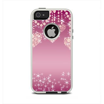The Pink Sparkly Chandelier Hearts Apple iPhone 5-5s Otterbox Commuter Case Skin Set