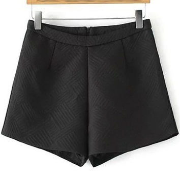 Black High-waist A-line Shorts