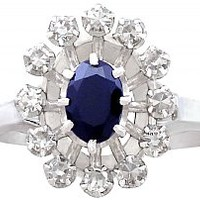 0.60ct Sapphire and 0.42ct Diamond, 18ct White Gold Cluster Ring - Vintage French Circa 1970