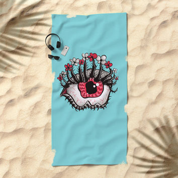 Eye Melt - Weird Red Eye With Flower Eyelashes Beach Towel by borianagiormova
